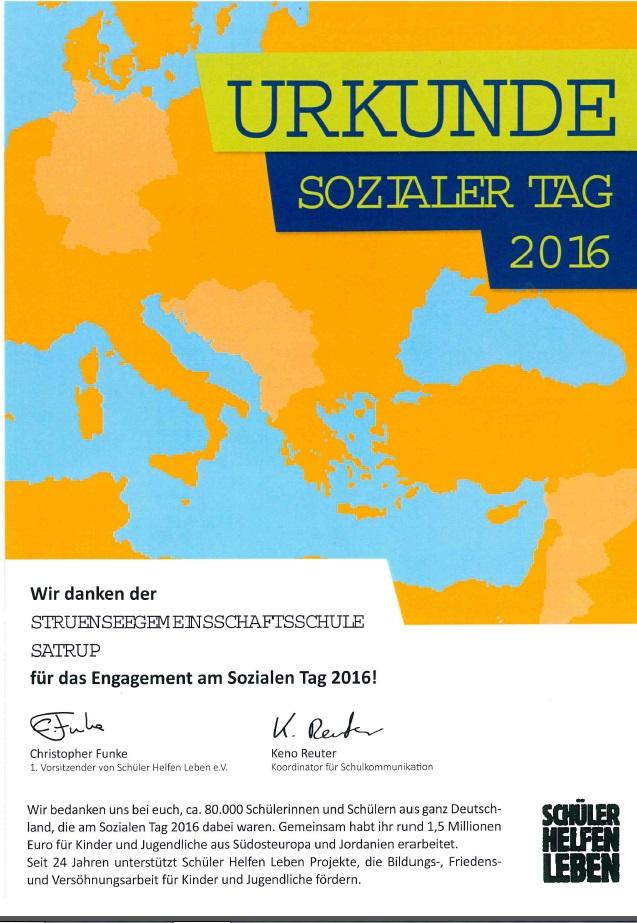 Urkunde Sozialer Tag 2016